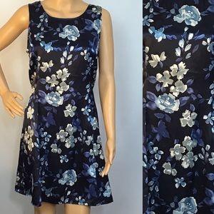 Vintage 90s Y2K Blue Satin Floral Mini Dress